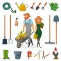 Gardening Cartoon Icon Set