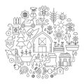 Gardening in circle - concept line vector illustration for cover, emblem, badge. Garden Tools and Equipment thin line