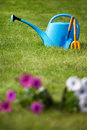 Gardening concept tools on a freshly cut well groomed grass Royalty Free Stock Photos