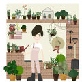 Gardening Decorations set with Girl flat Style vector / Illustration Royalty Free Stock Photo