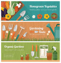 Gardening and diy banner set horticulture hobby with tools vegetables crate plants Stock Image