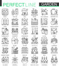Gardening and flower outline concept symbols. Perfect thin line stroke icons. Modern linear style illustrations set.