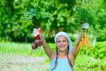 Gardening girl vegetable garden little gardener with bunch of organic carrots and beets Royalty Free Stock Photos