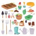 Gardening icon set agriculture design spring nature environment ecology tool garden vector illustration