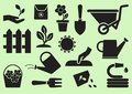 stock image of  Gardening icons. Black silhouettes. Vector illustration
