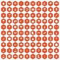 100 gardening icons hexagon orange