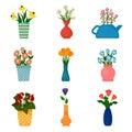 Gardening icons, houseplants in pots.