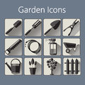 Gardening icons set over a silver blue background Royalty Free Stock Photo