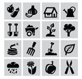 Gardening icons vector black set on gray Stock Image