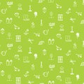 Gardening line icons vector seamless pattern.