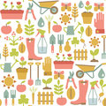 Gardening pattern seamless with icons Royalty Free Stock Photos