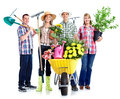 Gardening people workers with flowers isolated over white background Royalty Free Stock Photos