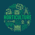 Gardening, planting horticulture banner with vector line icon. Garden equipment, organic seeds, green house, pruners