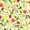Gardening seamless pattern design with cute flat icons vector