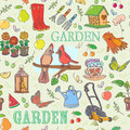 Gardening set seamless pattern watering can flowers in the pots seedling wellington boots lawn mower spray bottle lantern with Royalty Free Stock Photography