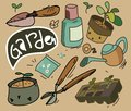 Gardening set vintage flat illustration vector Royalty Free Stock Image