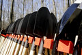 Gardening shovels several black in a row Royalty Free Stock Photo