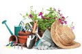 Gardening tools and flowers Stock Photos