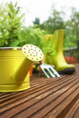 Gardening tools on garden terrace Stock Image