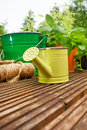 Gardening tools on garden terrace Royalty Free Stock Photos