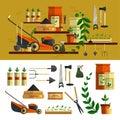 Gardening tools illustration. Vector icon set flat