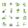 Gardening tools and objects icons vector icon set Stock Images