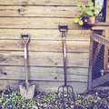 Gardening tools with retro effect filter Royalty Free Stock Photography