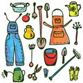 Gardening tools set funny doodle Royalty Free Stock Photos