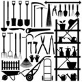 Gardening Tools Silhouette Stock Photos