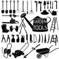 Gardening tools silhouette on white background