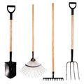 Gardening tools, spade, fork and rake Royalty Free Stock Photos