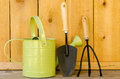 Gardening tools with watering can trowel and hand cultivator on wood background Stock Photography