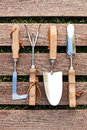 Gardening tools on wood board set of Royalty Free Stock Photo