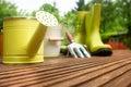 Gardening tools on wood terrace Stock Image