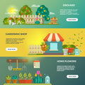 Gardening vector banners with garden tools, seeds and plants icons
