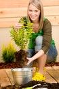 Gardening woman plant spring flower terrace Royalty Free Stock Photo