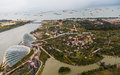 Gardens by the bay from marina sands resort Royalty Free Stock Images