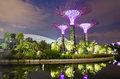 Gardens by the bay in singapore sept night view of supertree grove at on sept spanning hectares of reclaimed land Royalty Free Stock Images