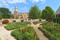 Gardens at Colonial Williamsburg in front of Bruton Parish Churc Royalty Free Stock Photos