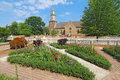 Gardens at colonial williamsburg in front of bruton parish churc church spring the restored town is a major attraction for Royalty Free Stock Photography