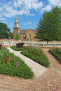 Gardens at colonial williamsburg in front of bruton parish churc church spring the restored town is a major attraction for Royalty Free Stock Photos