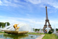 Gardens of trocadero and the eiffel tower in paris france august tour on a cloudy summer day france was Royalty Free Stock Photos