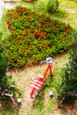 The gardens were cut into a heart shape with a red bicycle is Royalty Free Stock Images