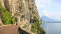 Gardesana road with tunnel and vehicles garda lake italy Royalty Free Stock Photo