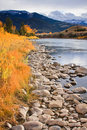 Gardiner River in fall, Montana. Royalty Free Stock Images