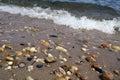 Gardiners bay shoreline waves lapping of atlantic ocean long island new york Royalty Free Stock Images