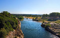 Gardon river best view on from the top of aqueduct pont du gard Royalty Free Stock Photo
