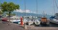 Gargnano harbor with moored sailboats Royalty Free Stock Photo