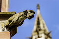 Gargoyle on a gothic cathedral detail of a tower on blue sky ba background saint florent church niederhaslach france Royalty Free Stock Photo