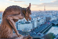 Gargoyle looking at Paris skyline Royalty Free Stock Photo